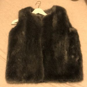 Top shop grey faux fur vest size 4